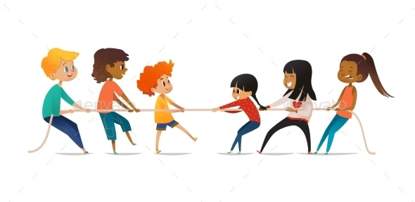 Tug of War Contest Between Boys and Girls.  - People Characters