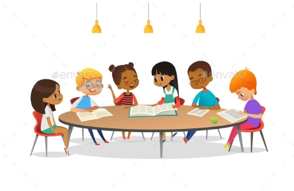 Boys and Girls Sitting Around Round Table - Miscellaneous Vectors