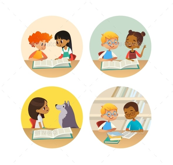 Children Reading Books and Talking to Each Other - Miscellaneous Vectors