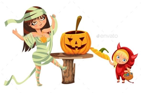 Cartoon Mom and Kid Carving Hallows Pumpkin Poster - Seasons/Holidays Conceptual