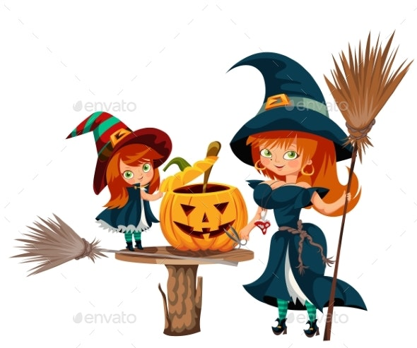 Mother and Daughter in Halloween Costumes Poster - Seasons/Holidays Conceptual