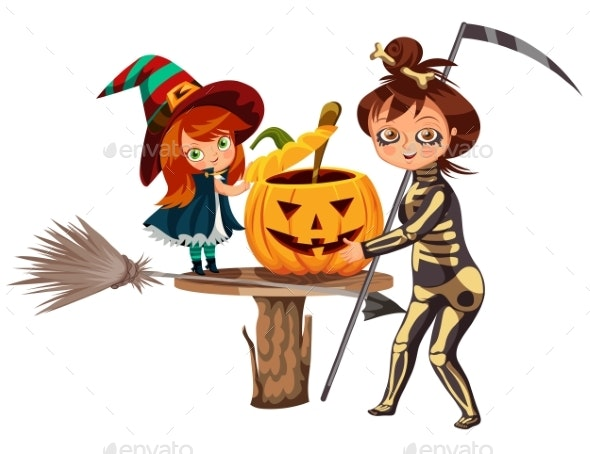Mom and Daughter in Halloween Costumes Poster - Seasons/Holidays Conceptual