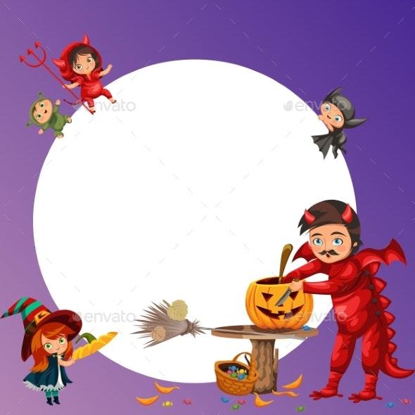 Father and Daughter Making Hallows Pumpkin Poster - Seasons/Holidays Conceptual
