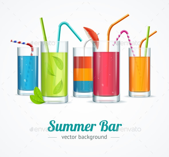 Summer Bar and Cocktail Glasses Concept - Miscellaneous Vectors