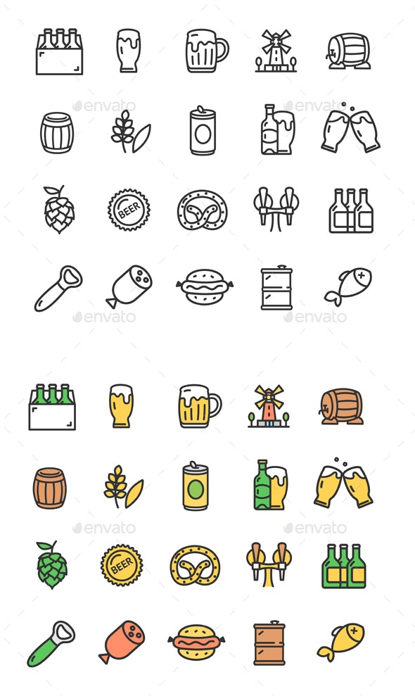 Beer and Oktoberfest Thin Line Icon Set - Miscellaneous Vectors