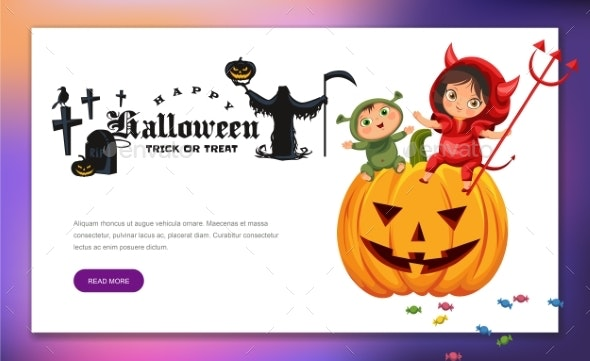 Cartoon Kids Sitting on Halloween Pumpkin Poster - People Characters