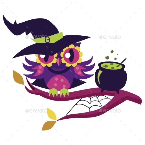 Cartoon Owl in Halloween Costume of Witch. Mystery - Animals Characters