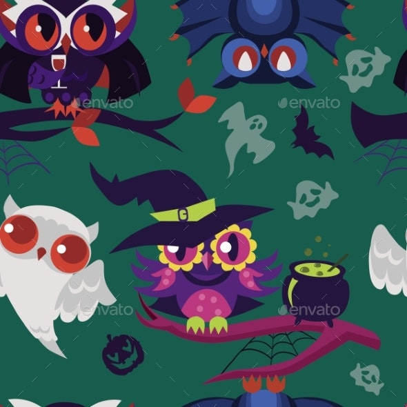 Halloween Night-birds Flat Endless Texture - Animals Characters
