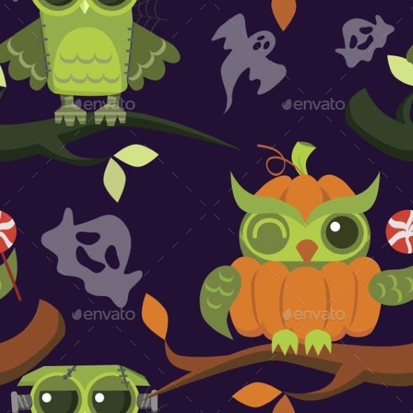 Happy Halloween Owls Flat Seamless Pattern