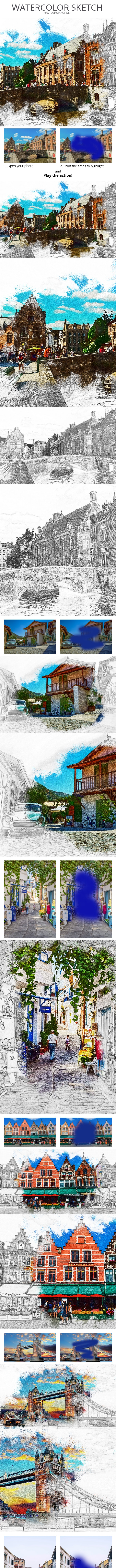 Watercolor Sketch Photoshop Action - Photo Effects Actions