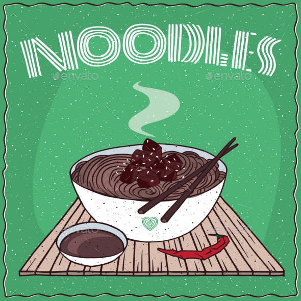 Asian Noodles Naengmyeon or Soba with Beef - Food Objects