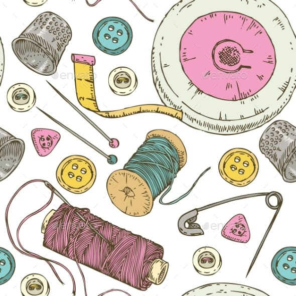 Seamless Pattern Sewing Supplies and Accessories