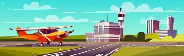 Vector Cartoon Illustration of Airliner - Travel Conceptual
