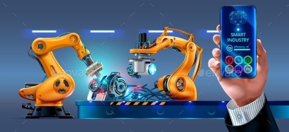 Businessman Management Smart Factory with Robot - Computers Technology