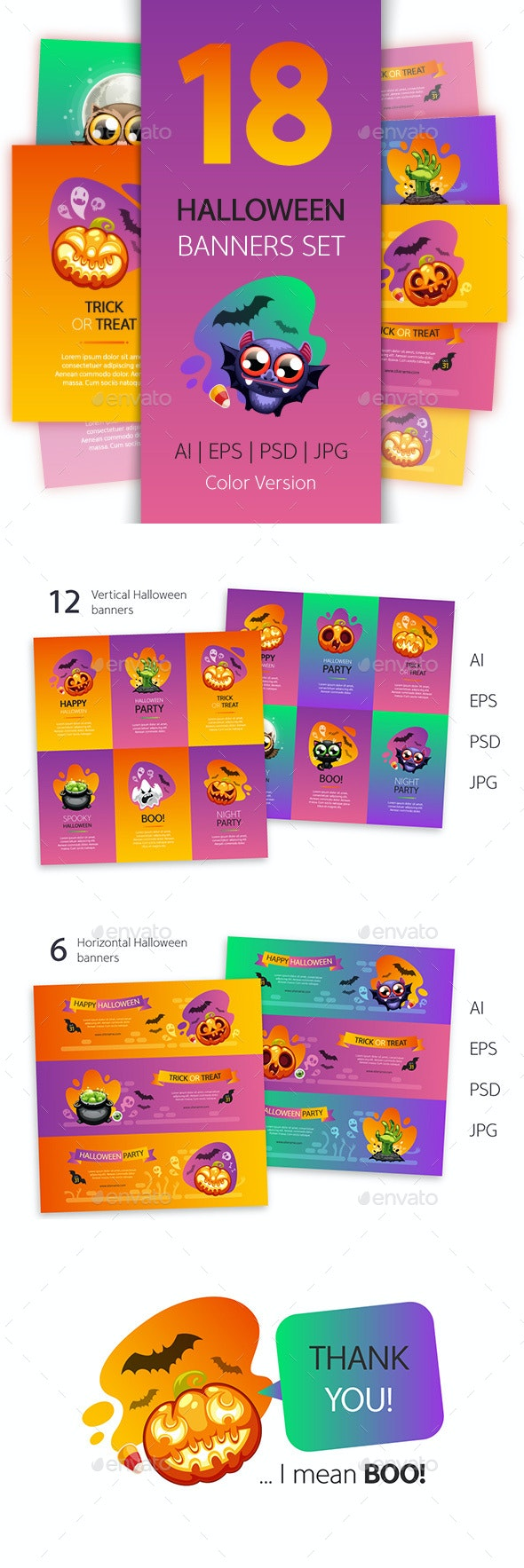 Halloween Banners Set Colorful Version - Decorative Vectors