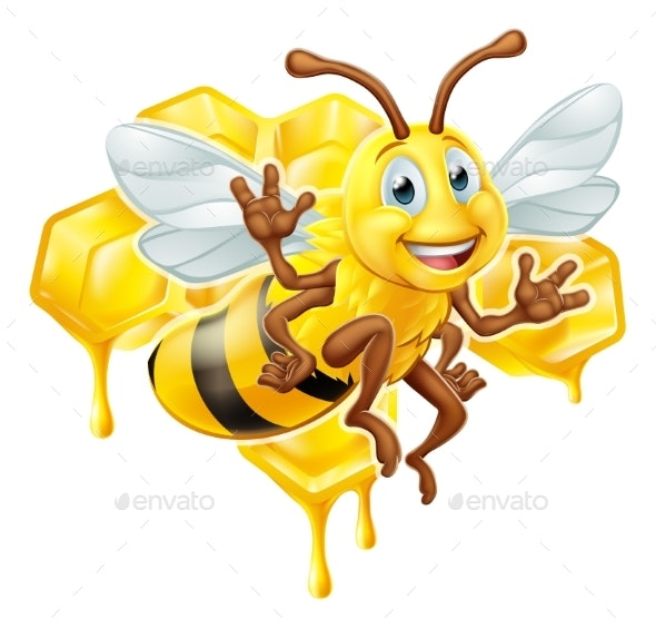 Bee Cartoon Character With Honey - Animals Characters