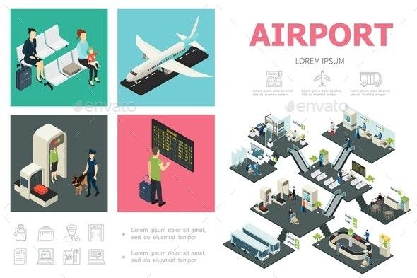 Isometric Airport Infographic Concept - Miscellaneous Vectors