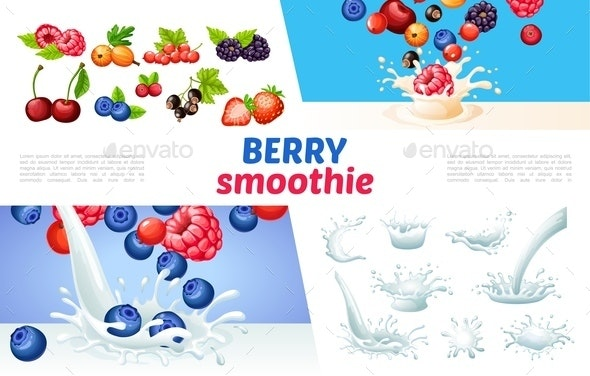 Cartoon Berry Smoothies Concept - Food Objects