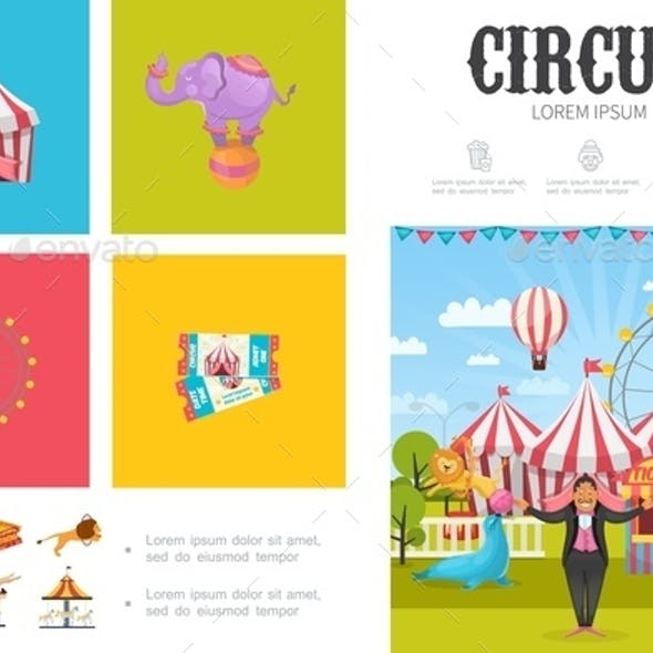 Flat Circus Infographic Concept