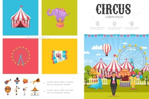 Flat Circus Infographic Concept - Animals Characters