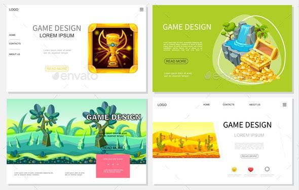 Cartoon Game Design Websites Set - Nature Conceptual