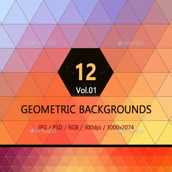 12 Geometric Colorful Backgrounds