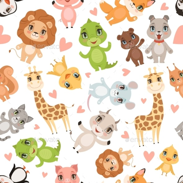 Baby Animals Pattern. Fabric Printed Seamless - Backgrounds Decorative