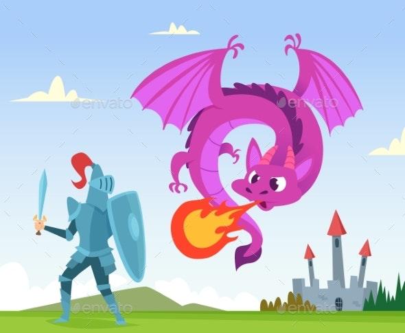 Dragon Fighting. Wild Fairytale Fantasy Creatures - Characters Vectors