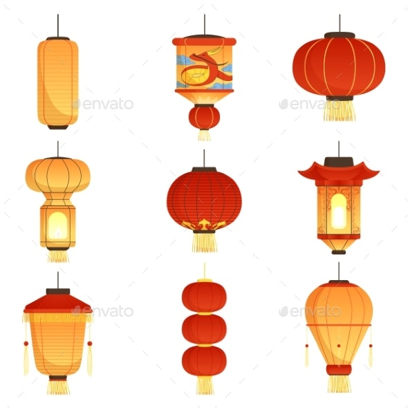 Chinese Festival Lanterns. China Street Asian - Objects Vectors