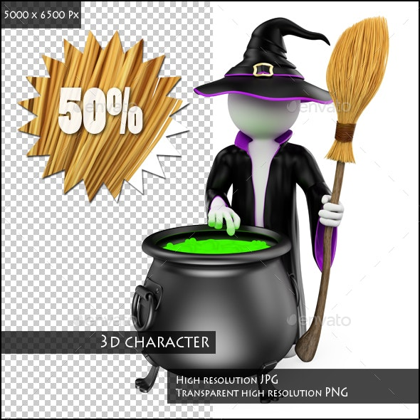 3D White People. Witch Cooking a Magical Potion. Halloween - Characters 3D Renders