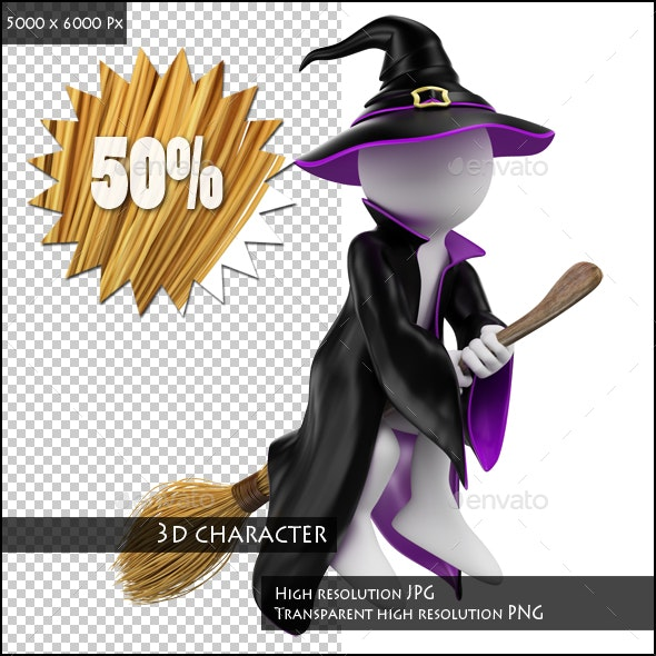 3D White People. Witch on her Broomstick. Halloween - Characters 3D Renders