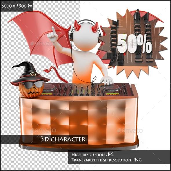 3D White People. DJ Playing Music at a Halloween Party - Characters 3D Renders