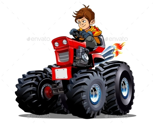 Vector Cartoon Tractor Isolated on White - Man-made Objects Objects