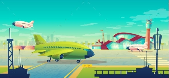 Vector Cartoon Illustration of Green Airliner - Travel Conceptual