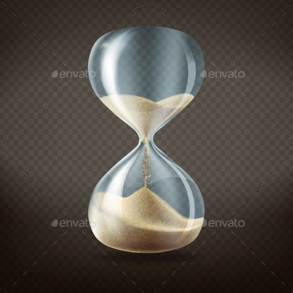 Realistic Hourglass with Running Sand - Man-made Objects Objects