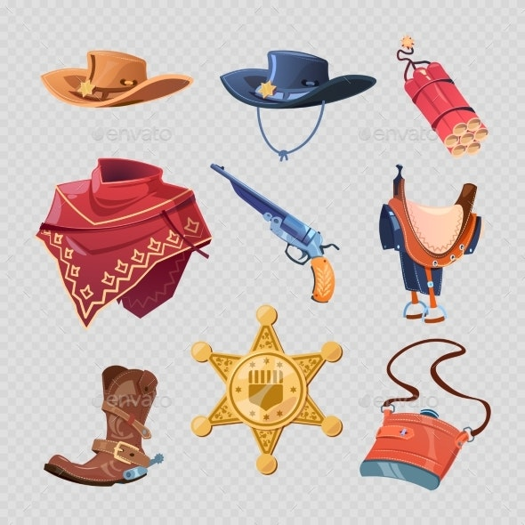 Cowboy or Western Sheriff Accessorises Isolated  - Miscellaneous Vectors