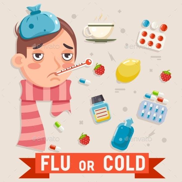 Cold Flu Disease Illness Sickness Medicine Flat