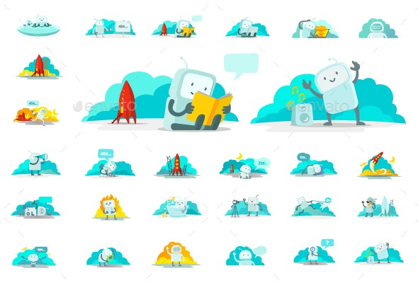 Sticker Set of Robot-Spaceman Character - Miscellaneous Characters