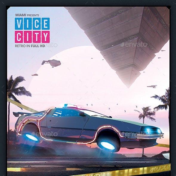 Synthwave Flyer v8 Cyberpunk Vice City Retrowave Poster