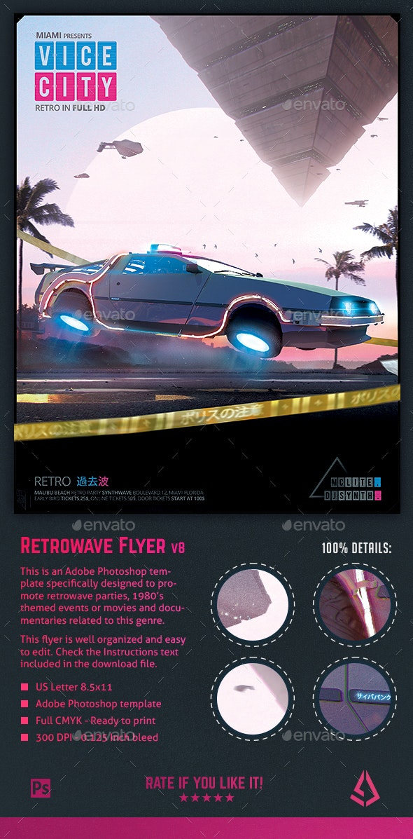 Synthwave Flyer v8 Cyberpunk Vice City Retrowave Poster - Miscellaneous Events