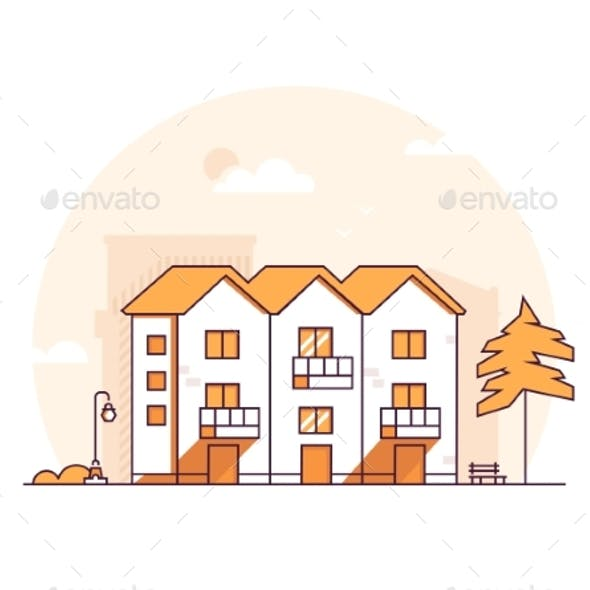 Apartment House - Modern Thin Line Design Style