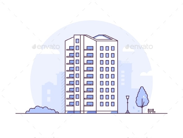 Cityscape - Modern Thin Line Design Style Vector - Buildings Objects