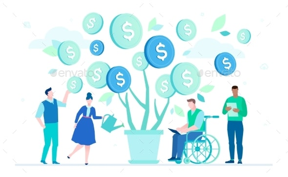 Financial Success - Flat Design Style Colorful - People Characters
