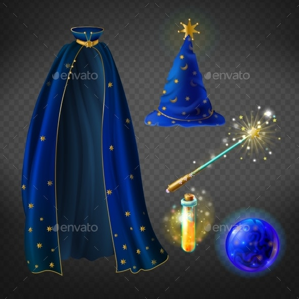 Vector Blue Wizard Costume Set with Accessories - Man-made Objects Objects
