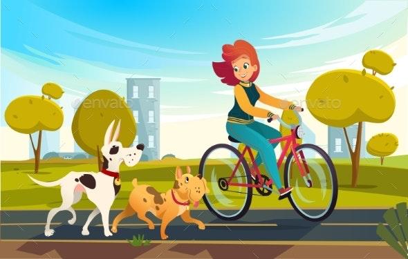 Vector Cartoon Illustration of Young Redhead Woman - Sports/Activity Conceptual