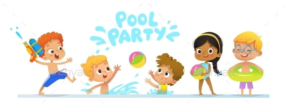 Pool Party Invitation Template Banner - People Characters