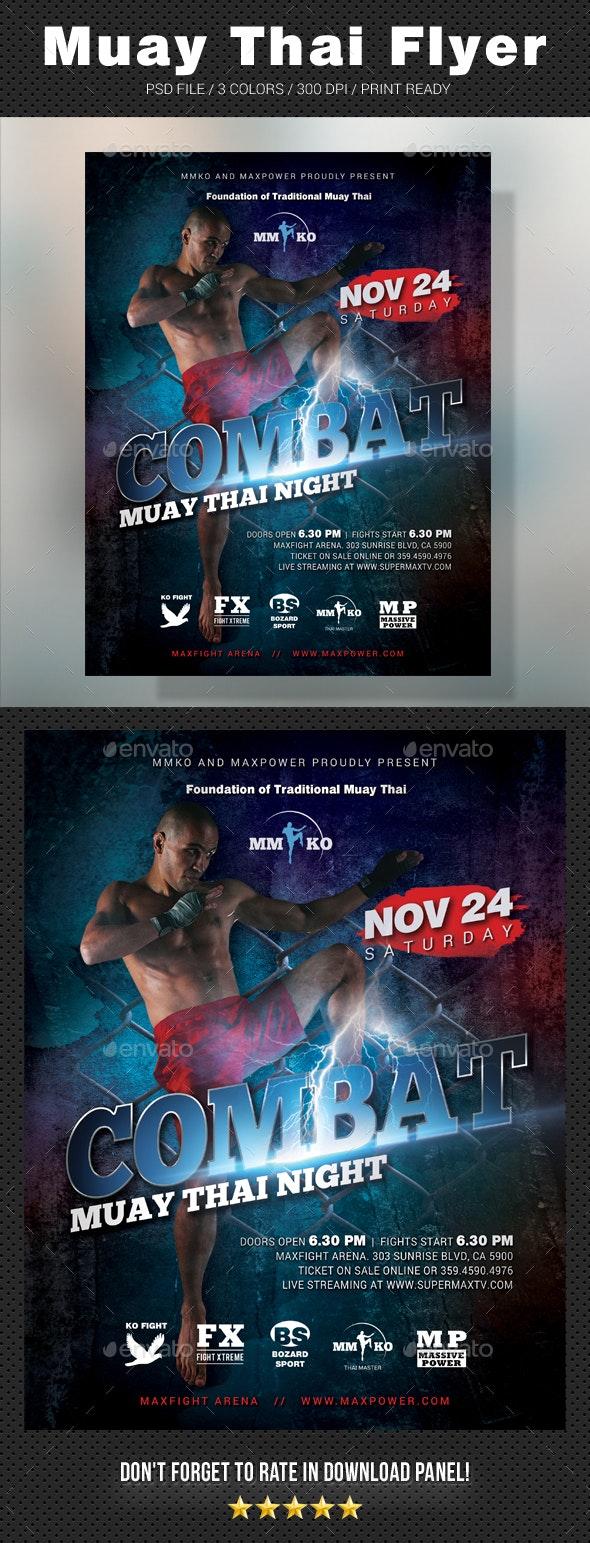 Combat Muay Thai Flyer - Sports Events