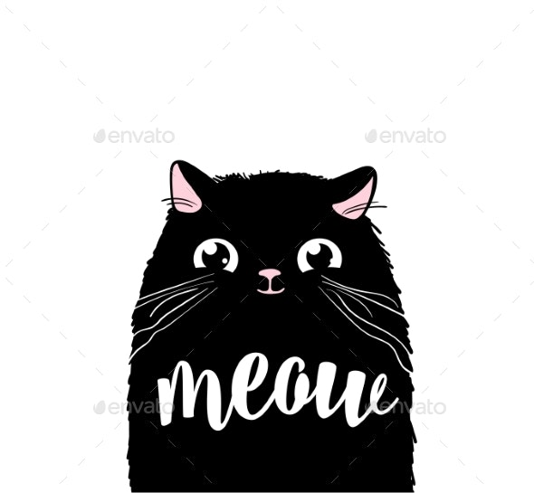 Black Cat Vector Print Design Meow Lettering - Animals Characters