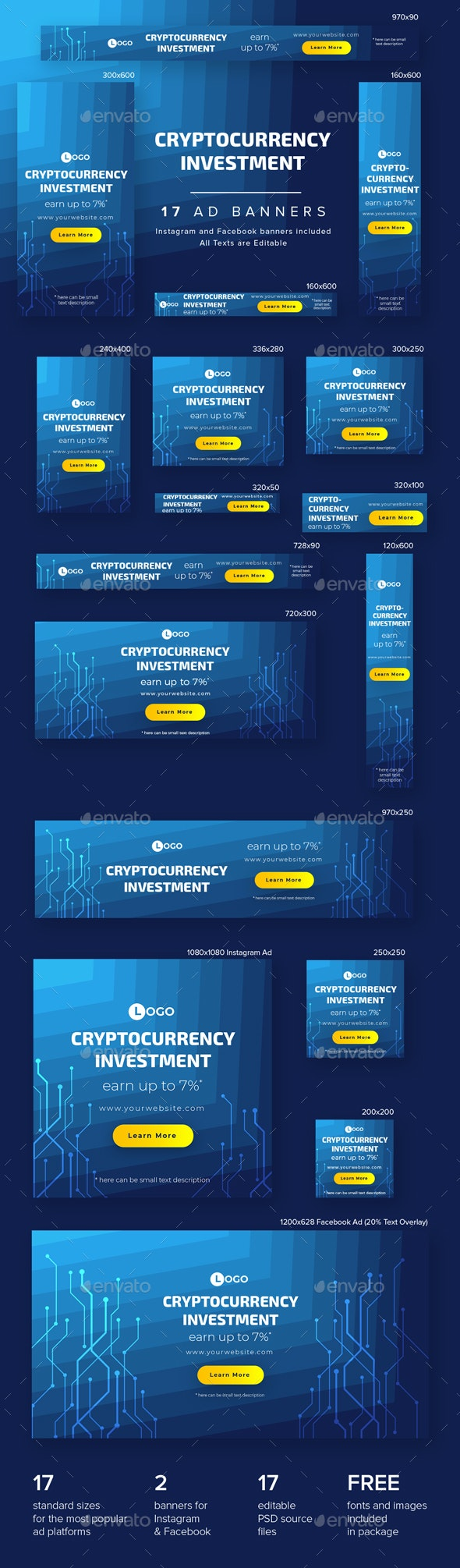 Cryptocurrency Investment Ad Banners - Banners & Ads Web Elements