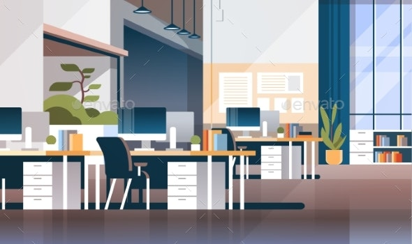 Modern Workplace Cabinet Room Office Interior - Objects Vectors